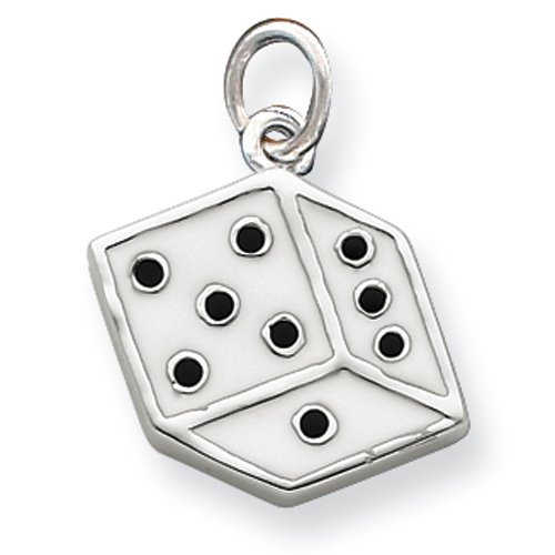 Sterling Silver White and Black Enamel Flat Dice Charm