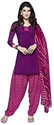 Fashions World Fancy Purple and Pink Crepe Dress Material