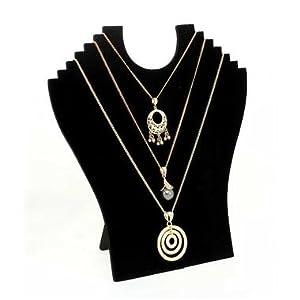 Buste pliant pour collier et bijoux fantaisie. - Noir