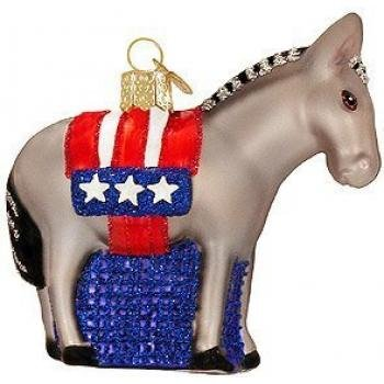 #!Cheap Old World Christmas Democratic Donkey Glass Ornament