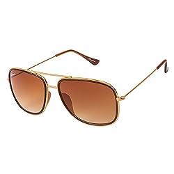 Chevera Bolt Brown Rectangle Sunglasses