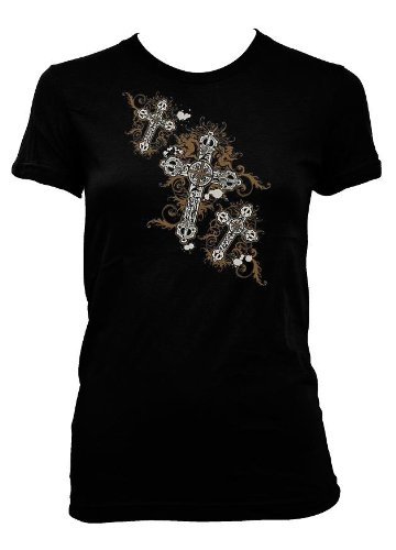 Metallic Gothic Crosses Womens T-shirt, Women's Old School Tattoo Shirts, Medium, White