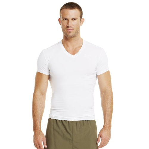 a36390f48155 Men s Tactical HeatGear Compression V Neck T Shirt Tops by Under Armour  Large White