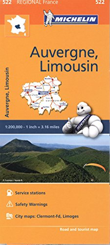 Michelin Regional Maps: France: Auvergne, Limousin Map 522 (Michelin Regional France)