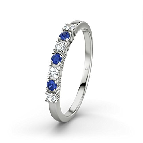 21DIAMONDS Women's Ring Linda Blue Sapphire Brilliant Cut Engagement Ring - Silver Engagement Ring