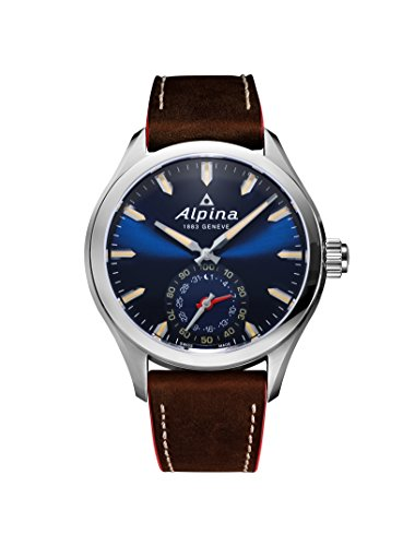 Alpina-Mens-HOROLOGICAL-SMART-Quartz-Stainless-Steel-and-Leather-Casual-Watch-ColorBrown-Model-AL-285NS5AQ6