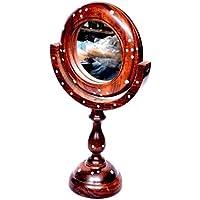 Desi Karigar Antique Fancy Design Handicraft Brown Wooden Mirror Stand