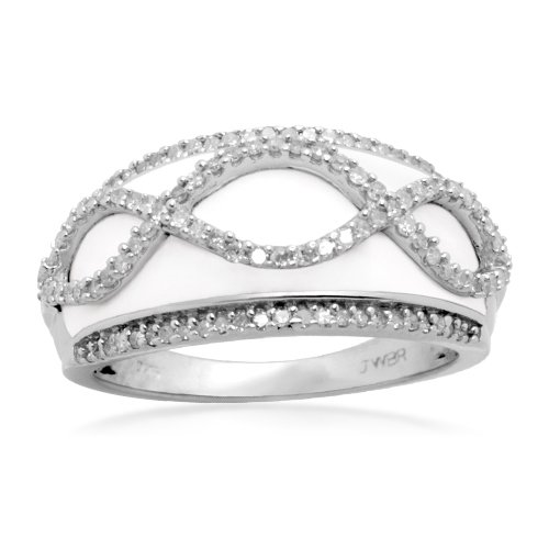 Sterling Silver Enamel Swirl Diamond Ring (1/3 cttw, I-J Color, I2-I3 Clarity), Size 9