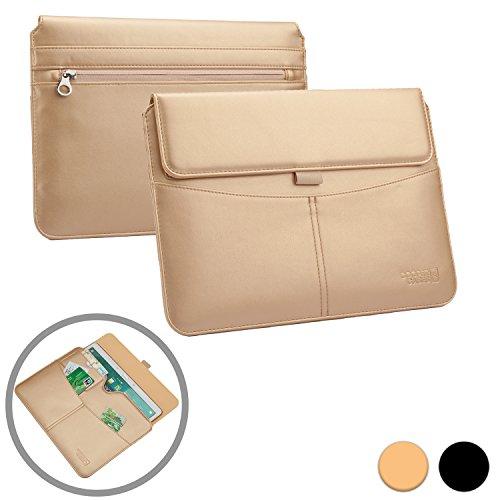 Cooper Cases(TM) Envelope Prestigio MultiPad 8.0 HD / 8.0 HD* / 8.0 Pro Duo Portfolio-Hülle für Tablets im Business-Stil in Gold mit integrierten Kartenfächern, Stylus-/Stifthalter & zusätzlichen Fächern