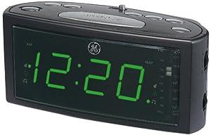 ge 74853 am fm clock radio with 1 4 green led dual wake nap timer prog snooze. Black Bedroom Furniture Sets. Home Design Ideas