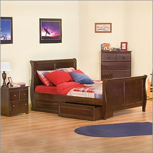 Atlantic Furniture Set of: 6920X and Sleigh Bed with Ma... Sleigh Bed Room Set With Windsor Case Go