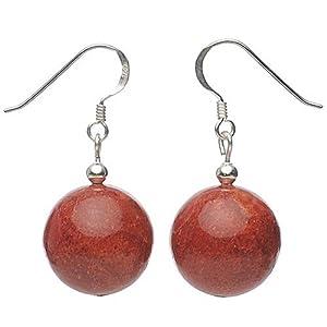 Ohrringe Ohrhänger aus echter Koralle Schaumkoralle & 925 Silber rot Damen