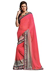 Inddus Pink Georgette Saree With Cotton Printed Border