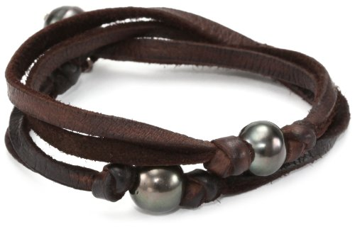 M.Cohen Hand made Designs 2 Wrap with 3 Tahitian Black Pearls on Brown Leather Bracelet