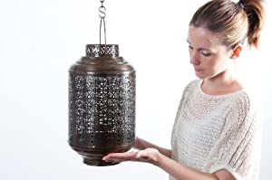 Antique Copper Etched 'Marrakech' Lantern / Candle Holder - Home & Garden - Two Sizes Available (Small)