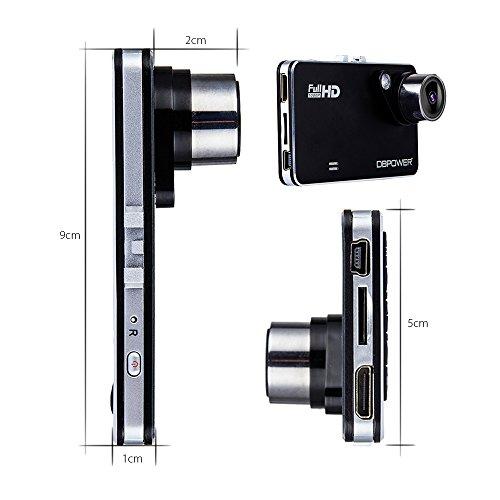 DBPOWER ドライブレコーダー 2.7インチ 8mm薄型 120度広角 Gセンサー搭載 1080P フルHD 1200万画素 動き検知 常時録画
