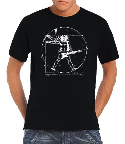 Touchlines - T-Shirt Da Vinci Rock Guitar, T-shirt da uomo, Nero (Black), XL