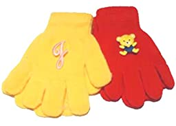 Two Pairs Magic Gloves with Monogram Letter for Ages 1-3 Year
