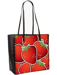 Strawberry Sticker Background Card In Vector Format Obo, Shoulder Bag Tote Faux Leather Handbag Satchel Tote