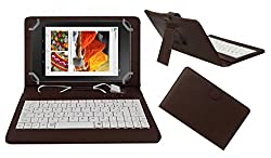 ACM PREMIUM USB KEYBOARD TABLET CASE HOLDER COVER FOR DELL VENUE 7 CELLULAR With Free MICRO USB OTG - BROWN