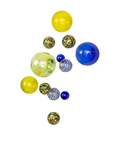 Worldly Goods Set of 14 Glass Wall Spheres, Lemon/Cobalt