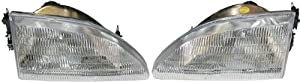 This Is A Aftermarket Pair Headlight Headlamp Head Light Lamp Assembly With Bulbs That Fits A 94 95 96 97 98 1994 1995 1996 1997 1998 Ford Mustang Base GT GTS Passenger Driver Side RH LH Right Left Hand DOT SAE Approved OE Replacement Composite Type Clear
