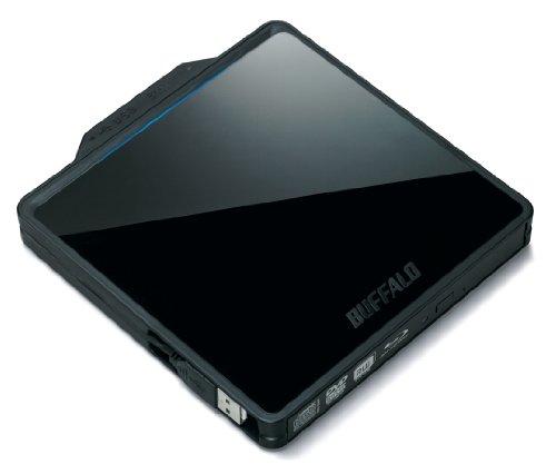BUFFALO BDXL対応 USB2.0用ポータブルBlu-rayドライブ 書き込みソフト付属 Wケーブル収納 スリムタイプ ブラック BRXL-PC6VU2/N