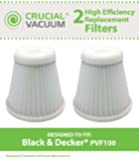 2 Black and Decker PHV1800 Replacement Filters Fit Black & Decker Pivot Vac Model PHV1800, Compare to Black & Decker Vacuum Cleaner Part # PVF100, PVF-100, 5147239-00, 514723900, Designed & Engineered By Crucial Vacuum