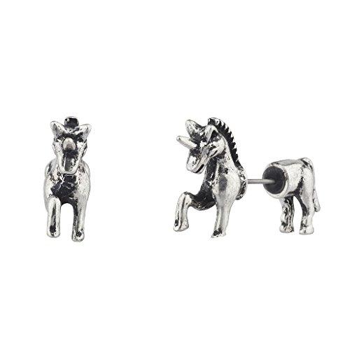 Lux accessori in argento brunito Unicorno Fake Gauge anteriore e posteriore Orecchini