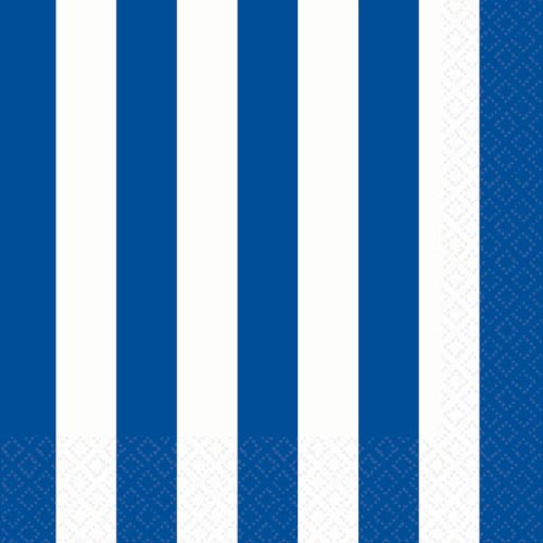"Amscan Disposable 2-Ply Lunch Napkins in Stripes Print (16 Pack), 6.5 x 6.5"", Royal Blue/White"