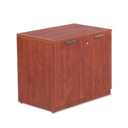 Alera Valencia Series Storage Cabinet, Mahogany, 35w x 22d x 29 1/2h (ALEVA613622MY) Category: Wood Storage Cabinets