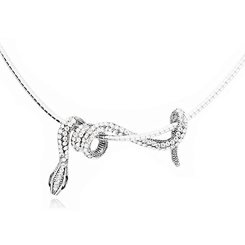 Jemry and Jewelry Personality Crystal Small Snake Winding Shape Pendant Necklace