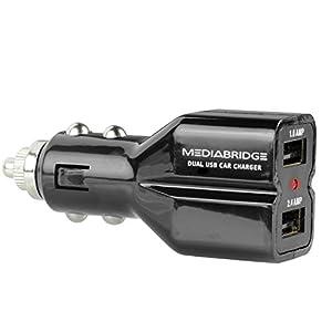 Mediabridge Dual USB 3.4A (17W) Car Charger for Apple Devices, Samsung Galaxy S5, Samsung Galaxy Note 4/3/II, HTC