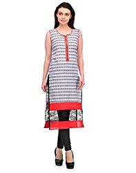 Awesome Fab Grey Color Cotton Fabric Women's Straight Kurti
