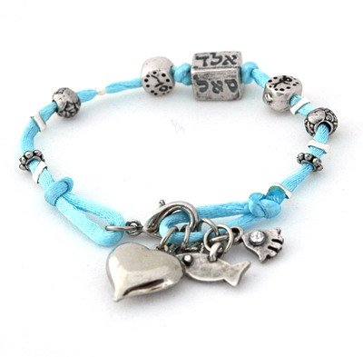 72 Names Baby Blue Silk Kabbalah Cube Charms Bracelet For Protection back-372644