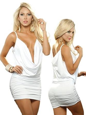 Sexy White Deep Sleeveless Deep V-Neck Mini Dress - Extra Large