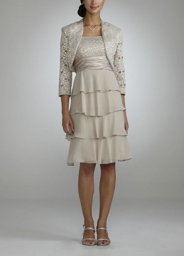 David's Bridal 3/4 Sleeve Jacket Dress with Tiered Skirt Style 072450