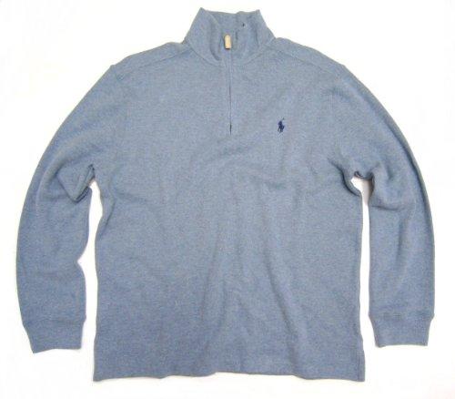 Polo Ralph Lauren Men\u0026#39;s Long-sleeved Quarter-zip Sweatshirt in Light Blue, Navy Blue Pony (X-Large / XL)