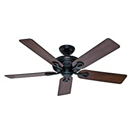 Hunter Fan Company 53104 The Savoy 52-Inch Matte Black Ceiling Fan with Five Walnut/Light Cherry Blades