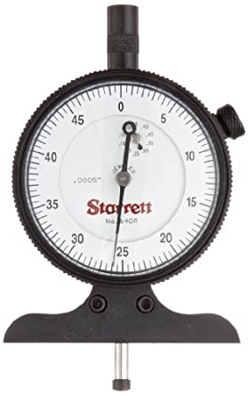 """Starrett 640RJZ 640 Series Dial Depth Gauge, Indicator Type, 0-1/2"""" Range, 0.0005"""" Graduation, Reverse Movement, With Case, 1 GRAD for first 2 1/2  REVS Accuracy"""