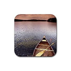 Kayak lake scenic photo Rubber Square Coaster set (4 pack) Great Gift Idea