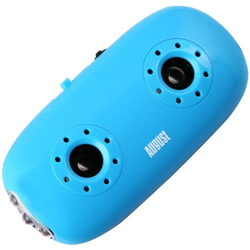 August MB100L Portable Stereo Speakers - MP3 Player with 3.5mm Audio In / Card Reader / LED Torch - Blue