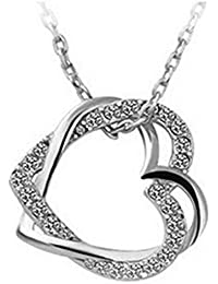 19 Likes Lover Heart Silver Metal Alloy Jewellery Set With Pendant And Chain For Girls