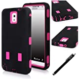 E LV Dual Layer Armor Defender Case for Samsung Galaxy Note 3 N7200 / N9000 AT&T, Verizon, Sprint, T-Mobile, International Unlocked - Hot Pink