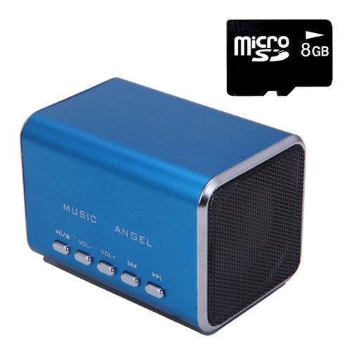 Hde Music Angel Portable Party Mini Speaker 150 Hz - 18000 Hz W/ Mini Sd Card (Blue)