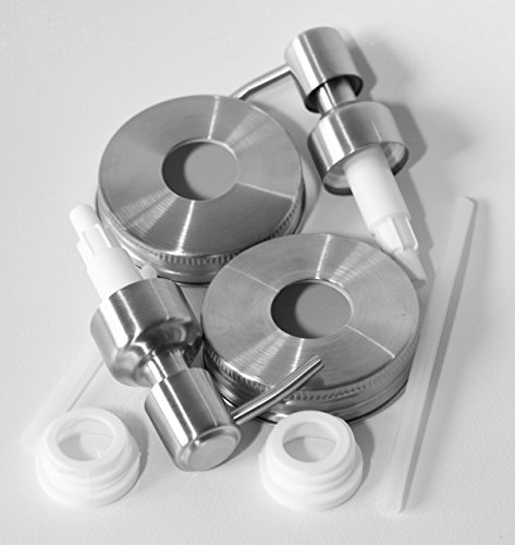 2 Pack Domary Concepts Mason Jar Liquid Soap Dispenser Pump and Lid Kit Set for Standard Mouthed Jars - JARS NOT INCLUDED (Liquid Jar compare prices)