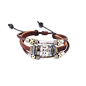 Fathers Day Gifts FASHION PLAZA Cubic Zirconia Bead Brown Leather Bracelet -Adjustable- L44
