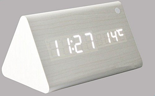 Kabb Wood Grain Led Alarm Clock - Time Temperature Date - Display Sound Activated - Brightness Adjustable (White Coating.White)