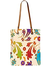 Snoogg Colorful Layered Flowers Womens Digitally Printed Utility Tote Bag Handbag Made Of Poly Canvas With Leather...