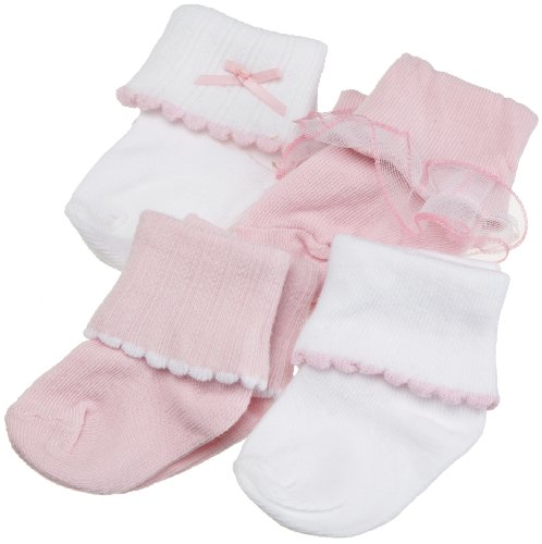 Luvable Friends Ribbed Cuff Girl Socks, 4 Pair, Multi, 6-18 Months